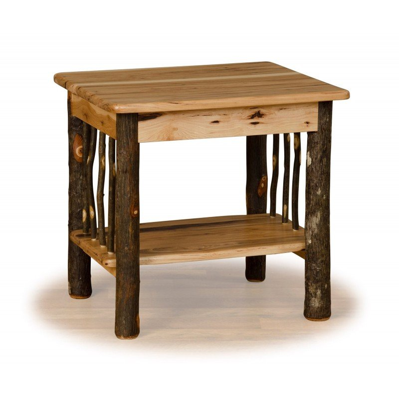 Rustic Hickory Log End Table With Side Spindles