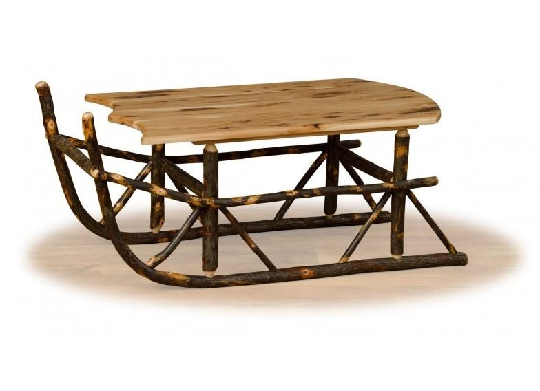 Rustic Hickory Sleigh Coffee Table
