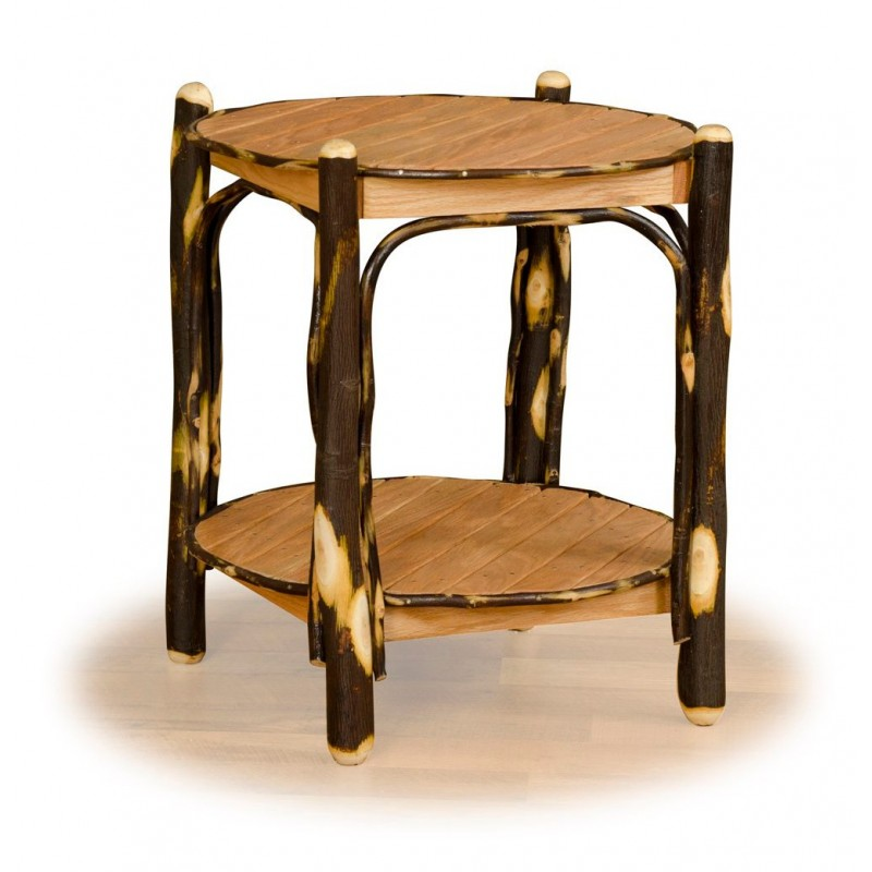 Rustic Hickory & Oak 2-Tier Round End Table