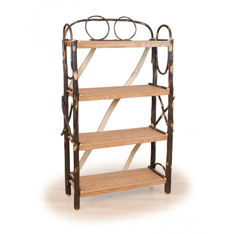 Rustic Hickory Four Shelf Fancy Book Case