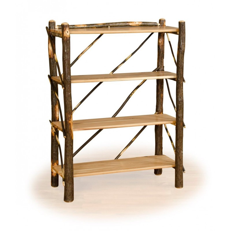Rustic Hickory Four Shelf Book Case/Storage Rack