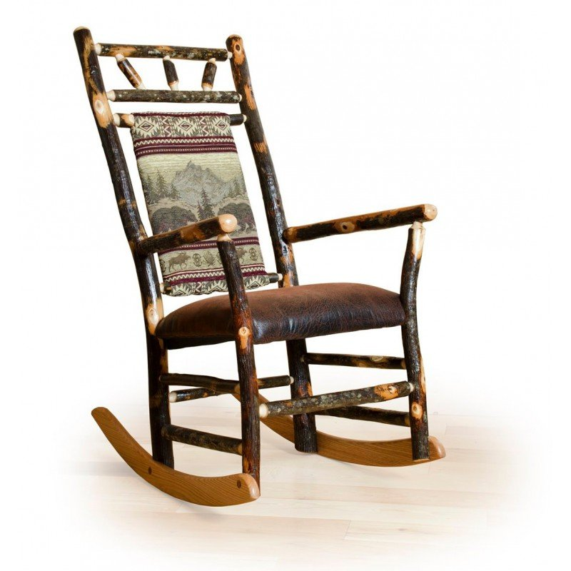 Rustic Hickory Fabric Back Rocking Chair