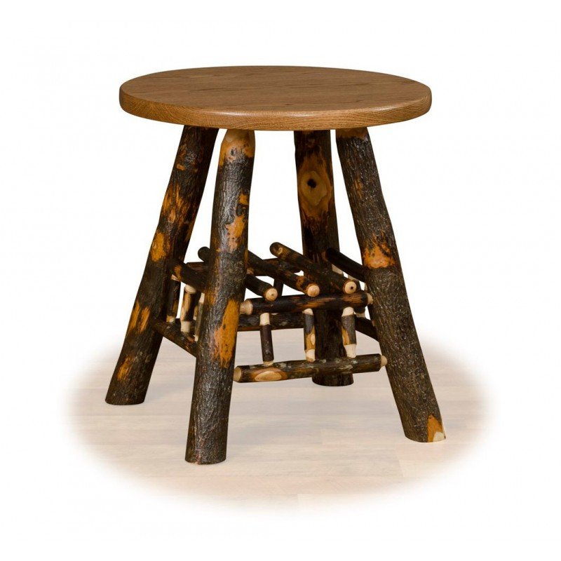 Rustic Hickory Lamp Table