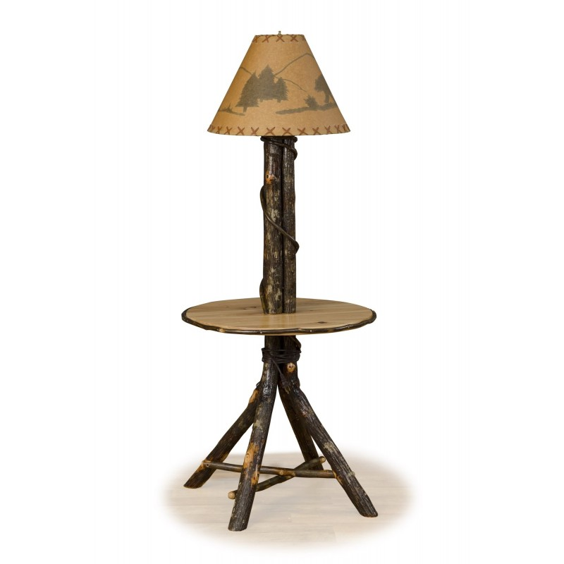 Rustic Hickory Floor Lamp With Round Table
