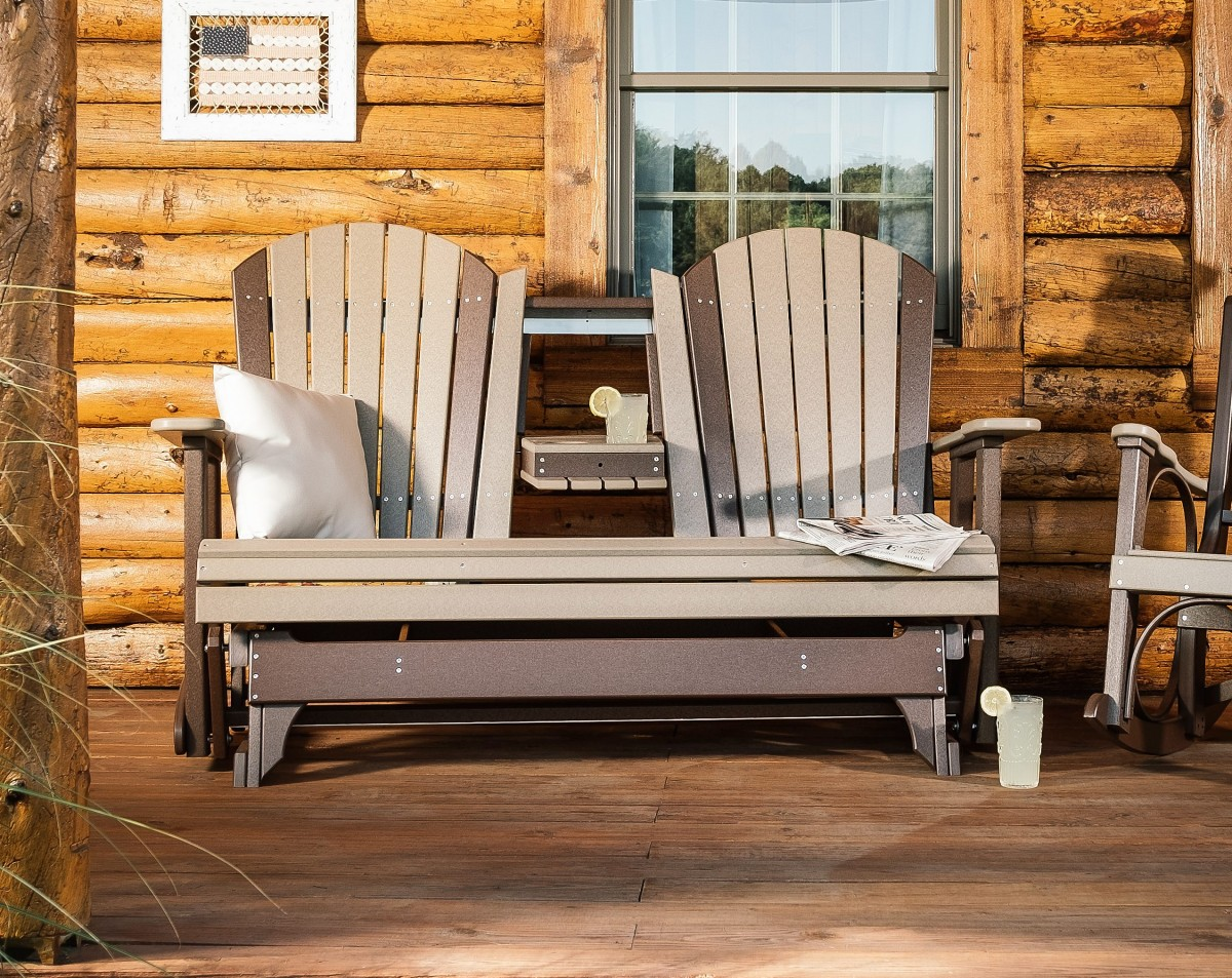 Luxcraft Poly Outdoor 5 Foot Adirondack Porch Glider Bench With Center Table
