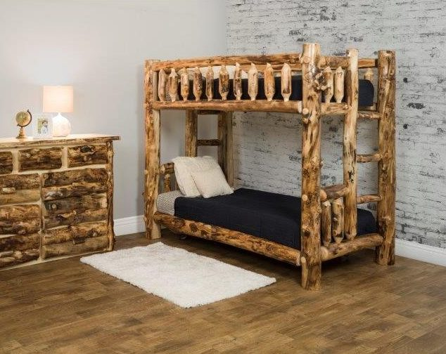Rustic Aspen Log Mission Style Bunk Beds
