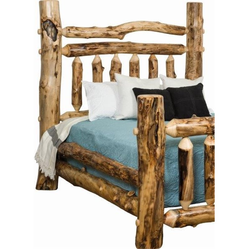 Rustic Aspen Log Grand Bed - Available in King or Queen