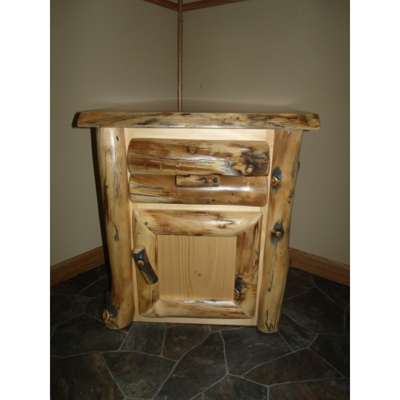 Rustic Aspen Log Nightstand – 1 Door And 1 Drawer