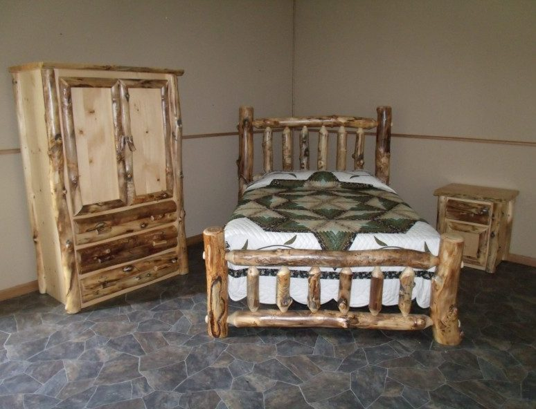 Rustic Aspen Log Complete Bedroom Set – Includes Bed, Armoire & Nightstand