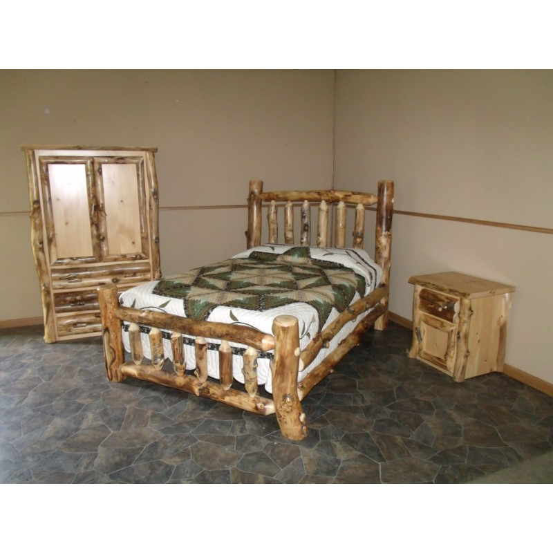 King Size Bed, Armoire, and Night Stand