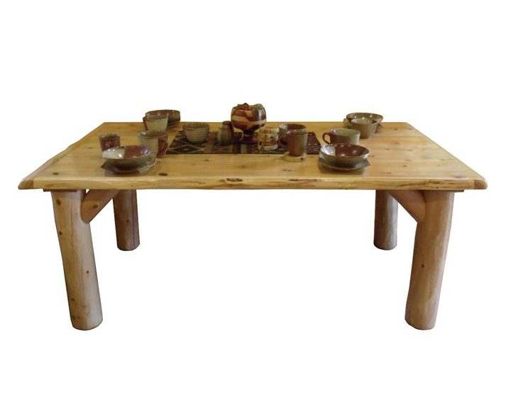 Rustic White Cedar Log Solid Top Dining Table