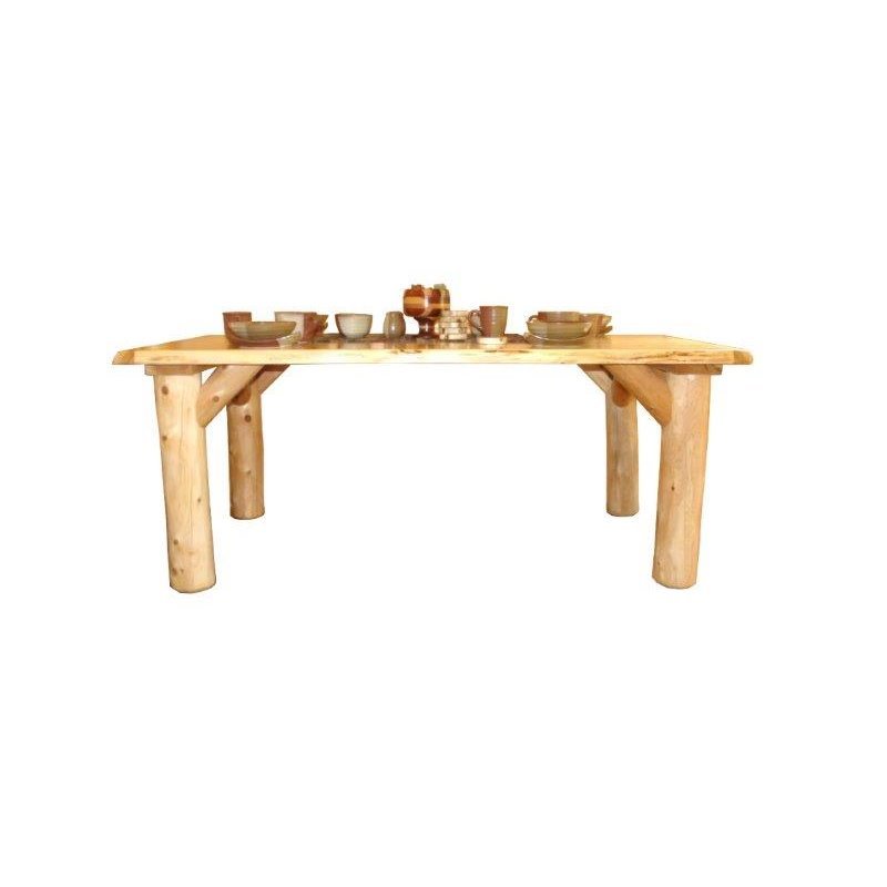 Astounding Rustic White Cedar Log 60 Dining Table Set With 4 Chairs Alphanode Cool Chair Designs And Ideas Alphanodeonline