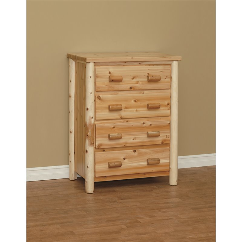 Finished White Cedar Log 4 Drawer Chest