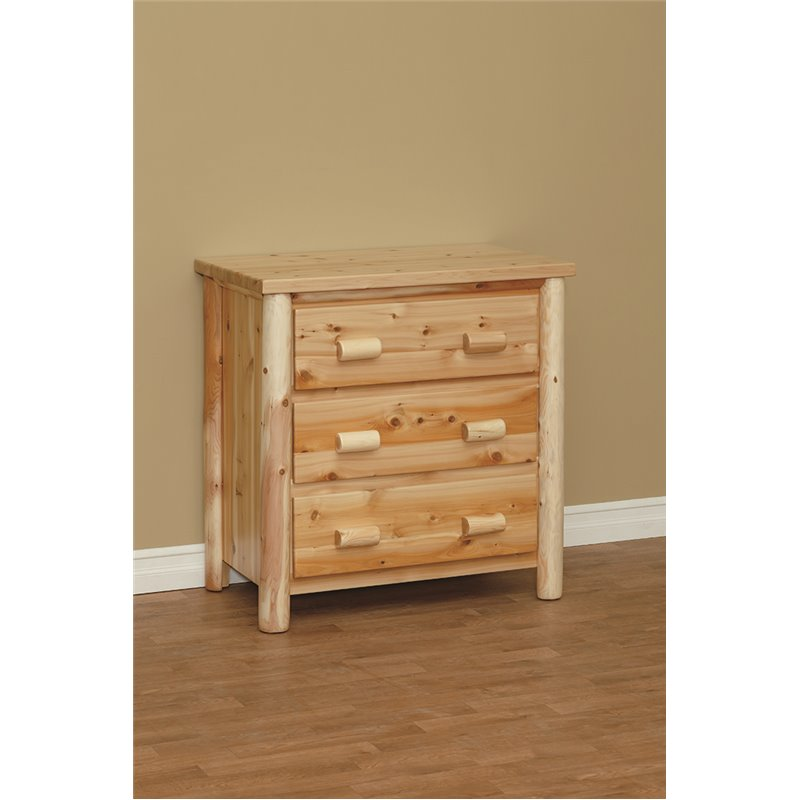Finished White Cedar Log 3 Drawer Chest