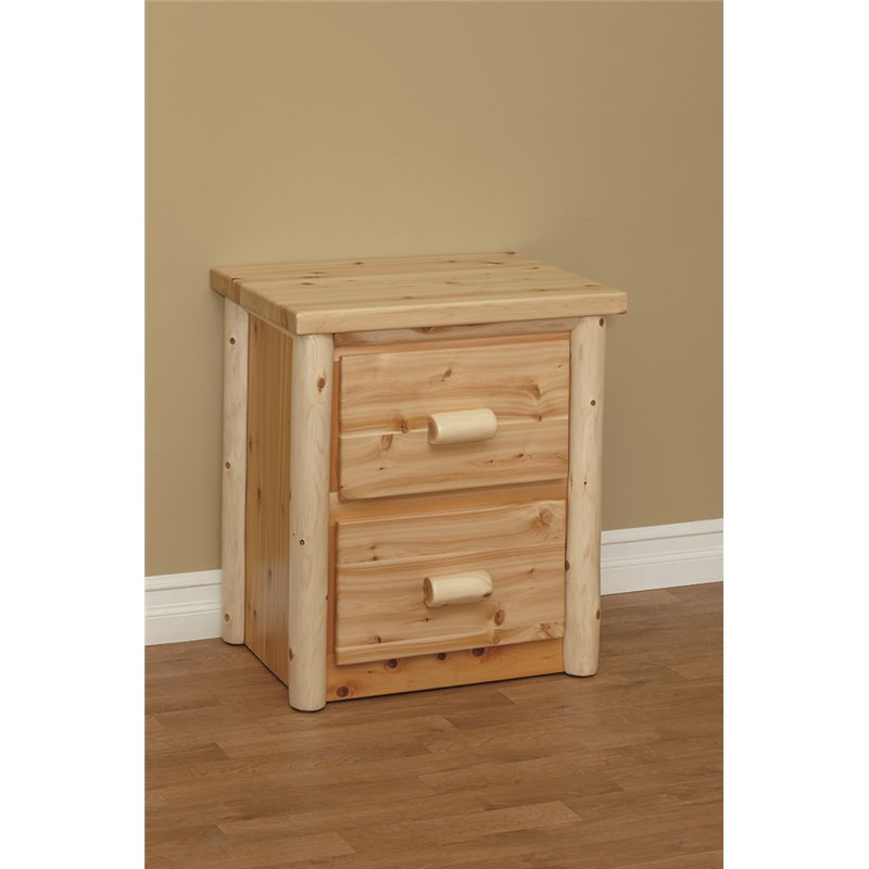 Finished White Cedar Log 2 Drawer Nightstand