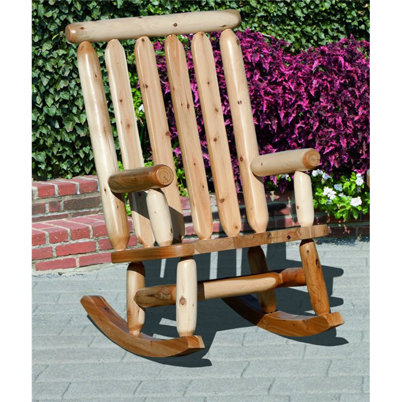 Classic White Cedar Log Outdoor Rocker