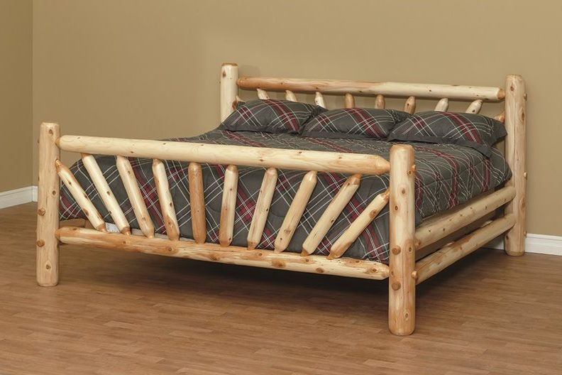Finished White Cedar Log Sunburst Bed
