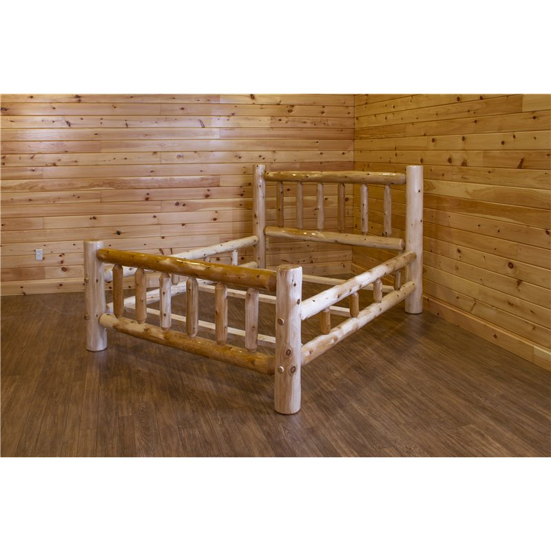 Rustic White Cedar Log Mission Style Double Side Rail Bed