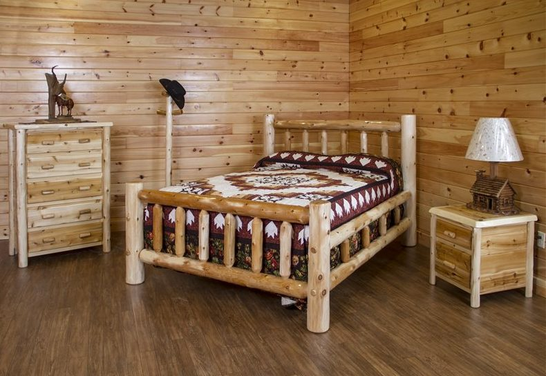 Rustic White Cedar Log Bedroom Set