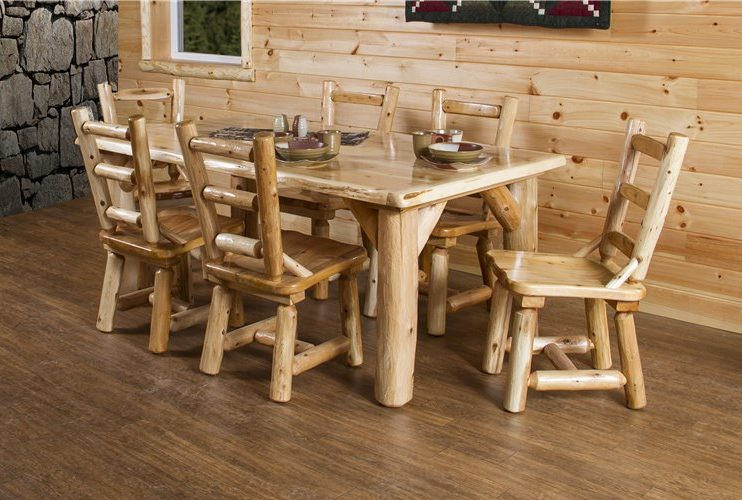 Rustic White Cedar Log Dining Set