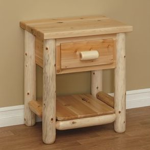 Finished White Cedar Log 1 Drawer Nightstand