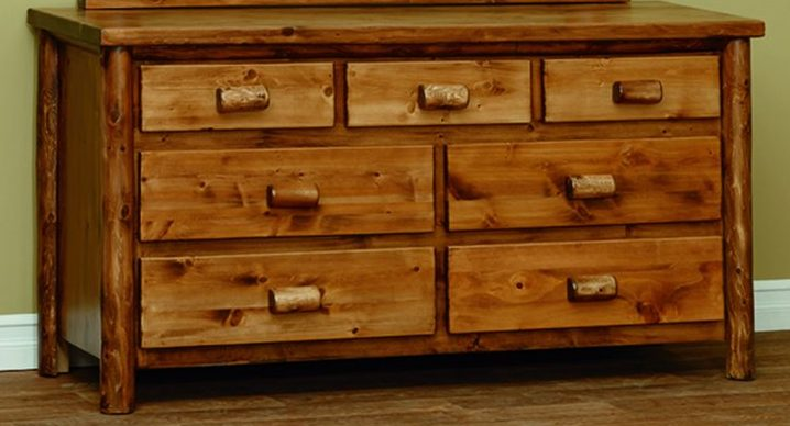 Finished White Cedar Log 7 Drawer Dresser