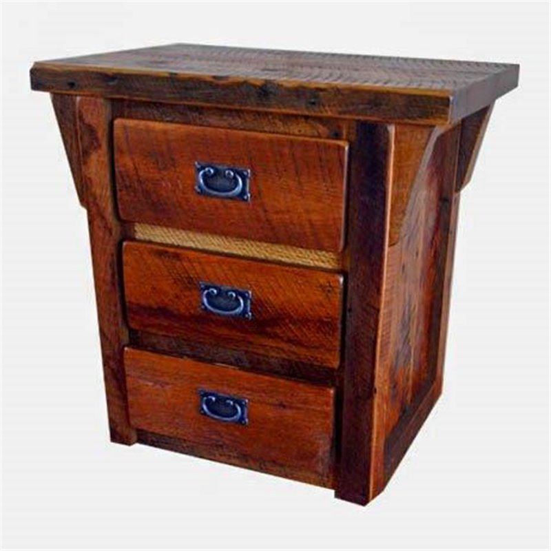 Rustic Reclaimed Barn Wood 3-Drawer Nightstand/End Table