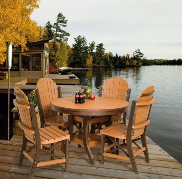 Poly Lumber Patio Set With Round Table And Fanback Chairs