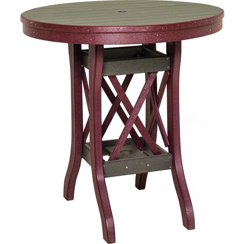 """Poly Lumber Round Table Balcony Height (36"""" Tall) - 5 Sizes - 18 Standard Colors"""