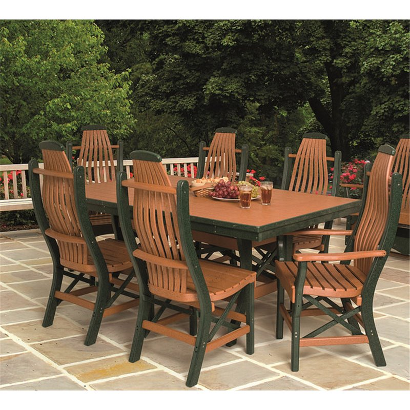 Poly Lumber Patio Set With Rectangular Table & Bentwood Chairs Or Backless Benches