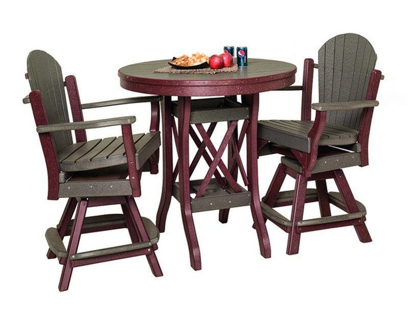 Poly Lumber Patio Set With Round Balcony Table And Fanback Swivel Arm Chairs