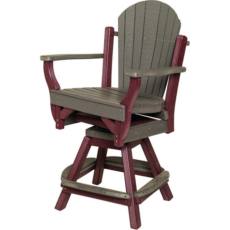 """Poly Lumber Patio Set with 36"""" Round Balcony Table & 2 Fanback Swivel Arm Chairs- 18 Standard Colors"""