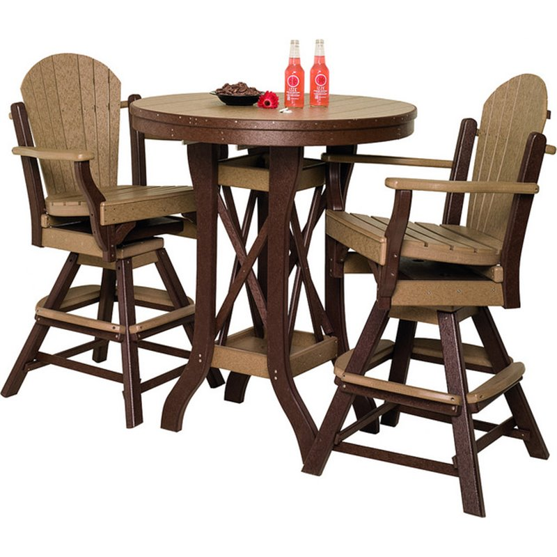 Poly Lumber Patio Set With Round Pub Table And Fanback Swivel Arm Chairs