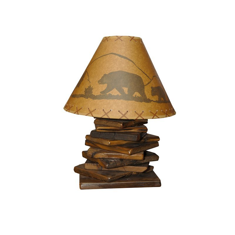 Rustic Reclaimed Barn Wood Table Lamp