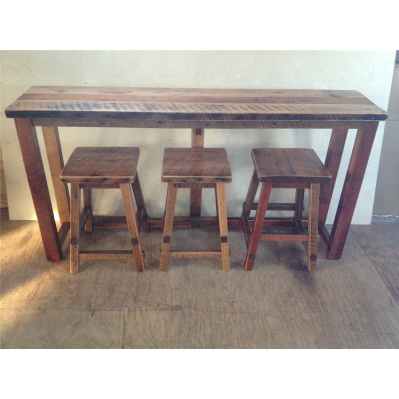 Rustic Reclaimed Barn Wood Kitchen Bar/Breakfast Bar/Sofa Table SET – Bar Height