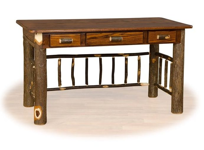 Rustic Hickory & Oak Foreman / Office Desk In Medium Stain