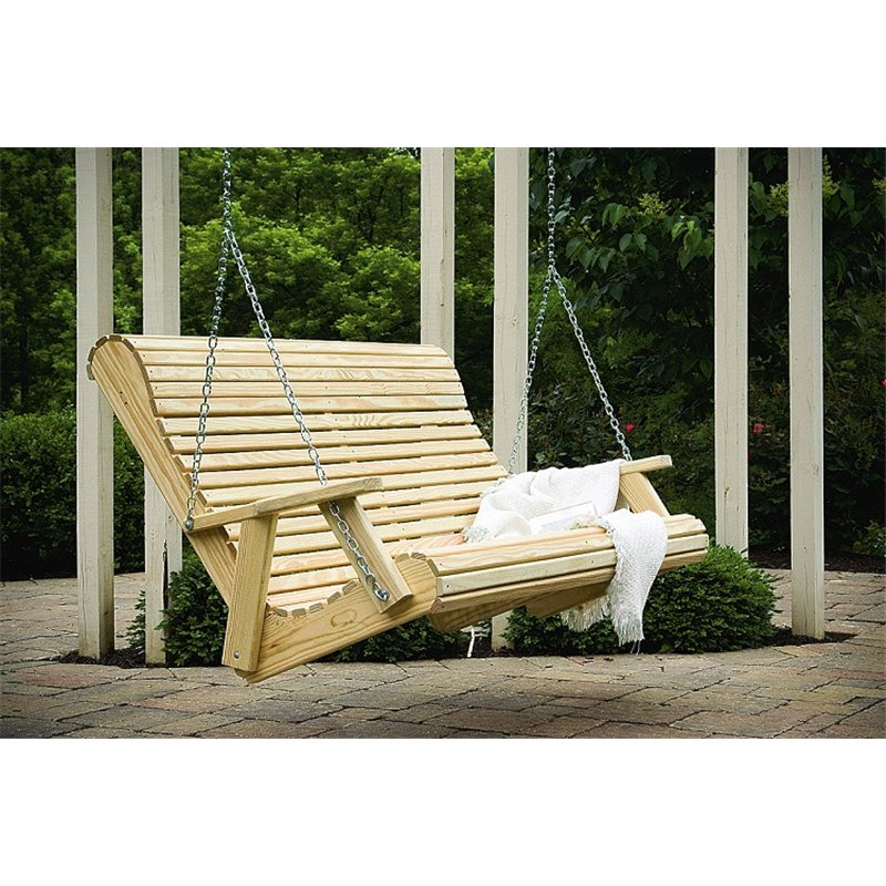 Pressure Treated Pine 5ft Rollback Porch Swing – Unfinished Or Stained