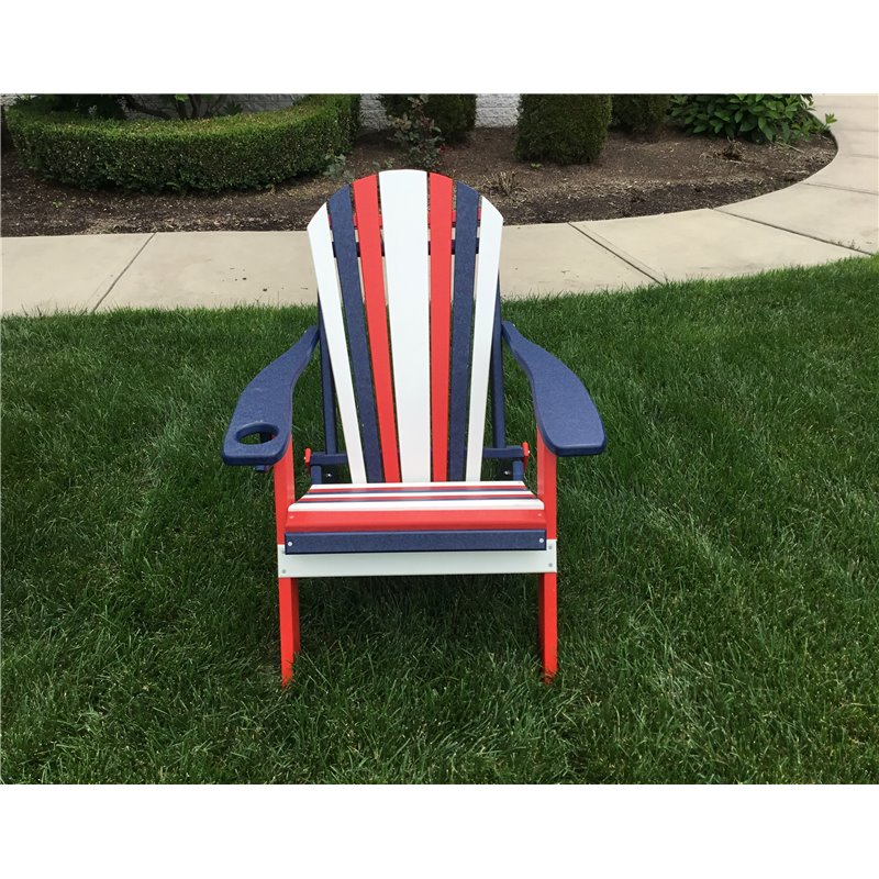 Poly Lumber RED, WHITE , & BLUE Folding Adirondack Chair w/ Cup Holder