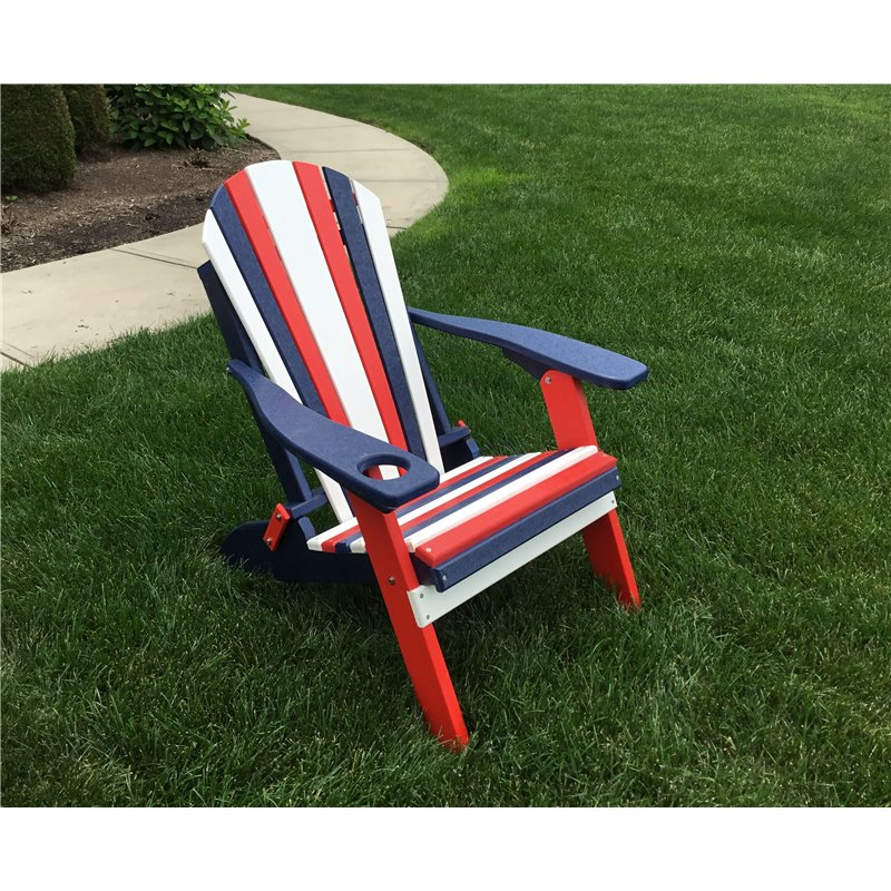USA Patriotic Folding Adirondack Chair In Poly Lumber Recycled Plastic – Red, White, & Blue