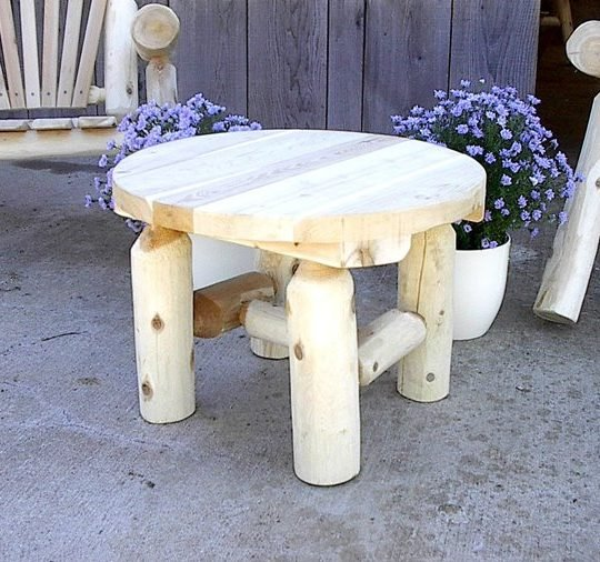 Finished Indoor White Cedar Log Rustic Round End Table