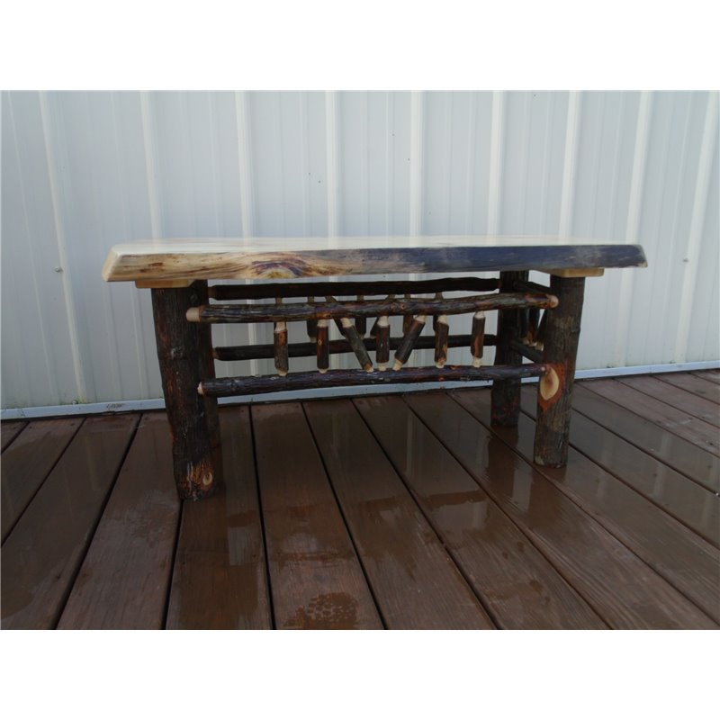 Hickory Live Edge Dining Bench Coffee Table