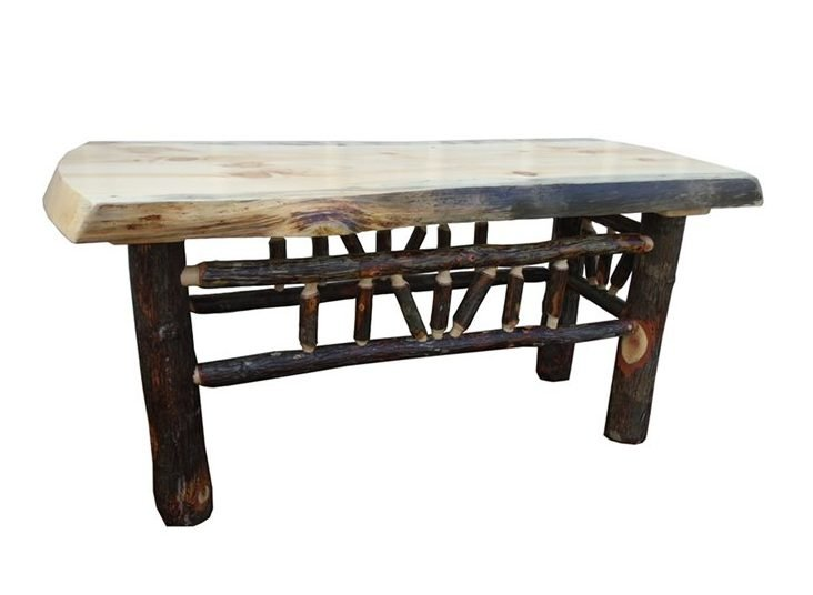 Rustic Hickory Live Edge Bench Or Coffee Table