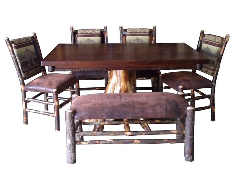 Rustic Maple & White Cedar Stump Rectangle Dining Table