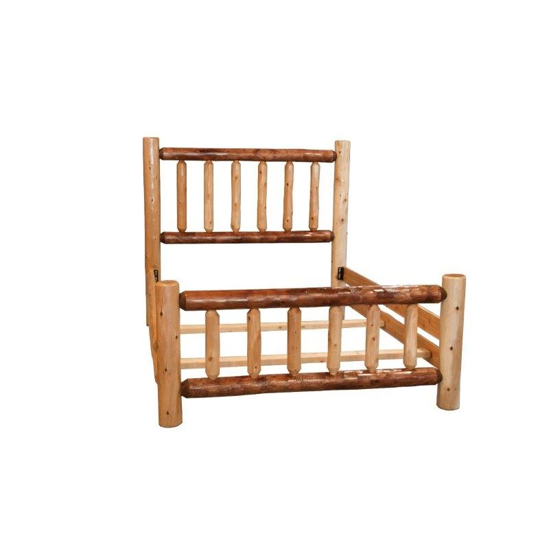 Rustic Two Tone White Cedar Log Mission Style Double Side Rail Bed
