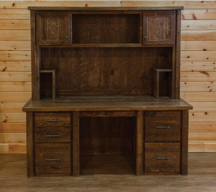 Barnwood-Style Timber Peg Executive Desk With Hutch