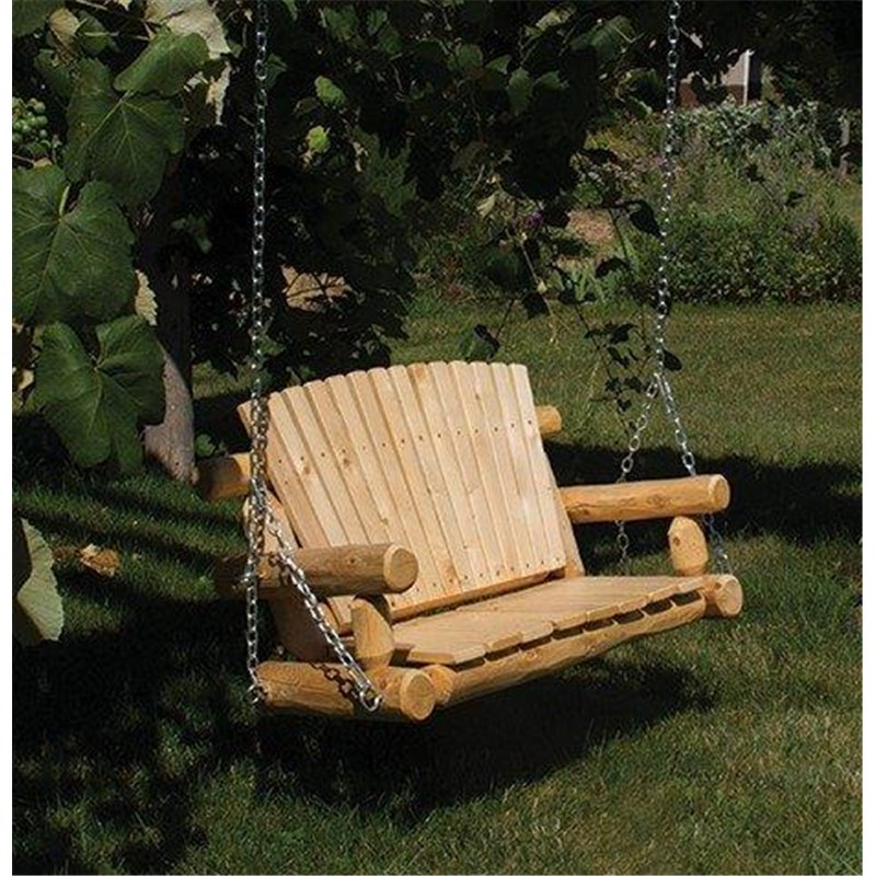 Unfinished White Cedar Log Rustic Porch Swing
