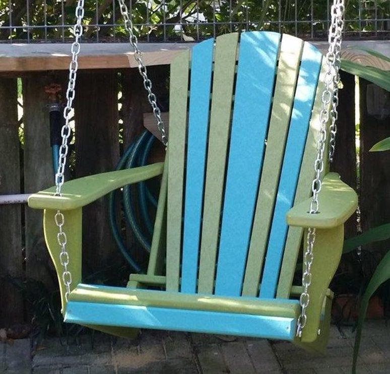 Poly Lumber Adirondack Swing Chair With Chains – Two Tone Natural