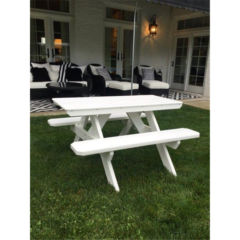 Poly Lumber City Style Picnic Table with Attached Benches