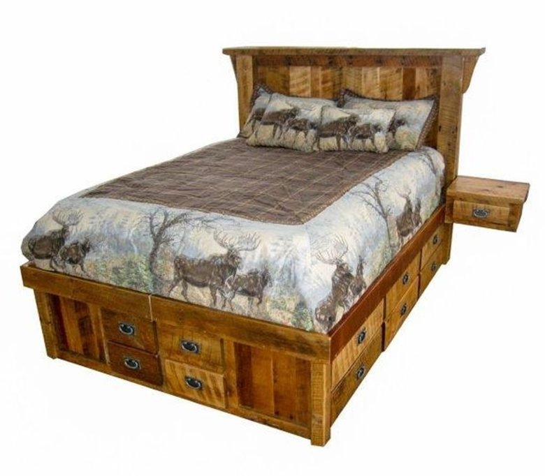 Rustic Reclaimed Barn Wood Bed – With 16 Drawer Trundle And 2 Detachable Side Tables