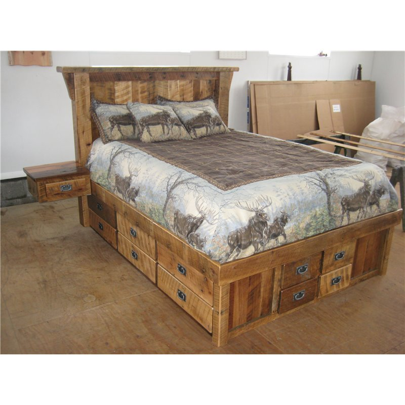 Rustic Natural Reclaimed Barn Wood Bed - with 16 Drawer Trundle and 2 Detachable Side Tables - Clear Coat